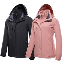 Nouveau automne et hiver en plein air imperméable veste hommes deux pièces femmes trois-en-un Plus velours épais alpinisme hommes