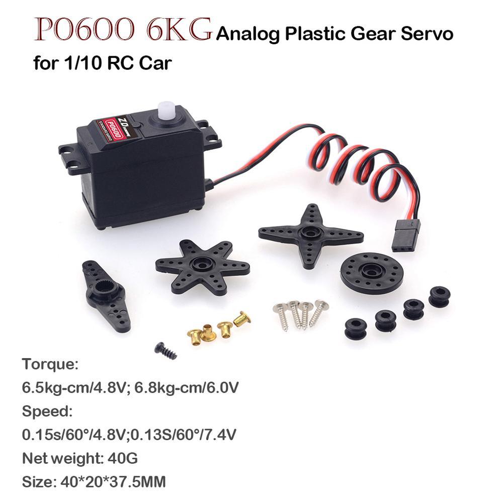 ZD Racing P0600 6kg analógico plástico engranajes Servo para Redcat LRP HPI HSP Kyosho equipo Absima Hobao DF FS ZD Racing 1/10 RC Coche