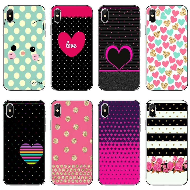 Polka Dot Corazón a rayas teléfono caso para Sony Xperia Z5 C6 L2 XA1 XA2 XZ1 XZ2 compacto Premium LG G5 G6 G7 Q6 Q7 Q8 Q9 V30