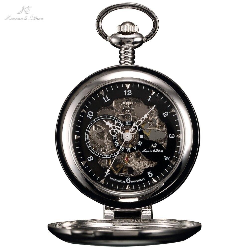 KS de lujo negro esqueleto auto-Soporte carcasa analógica mano viento mecánico reloj Fob cadena colgante Steampunk hombres reloj de bolsillo /KSP063