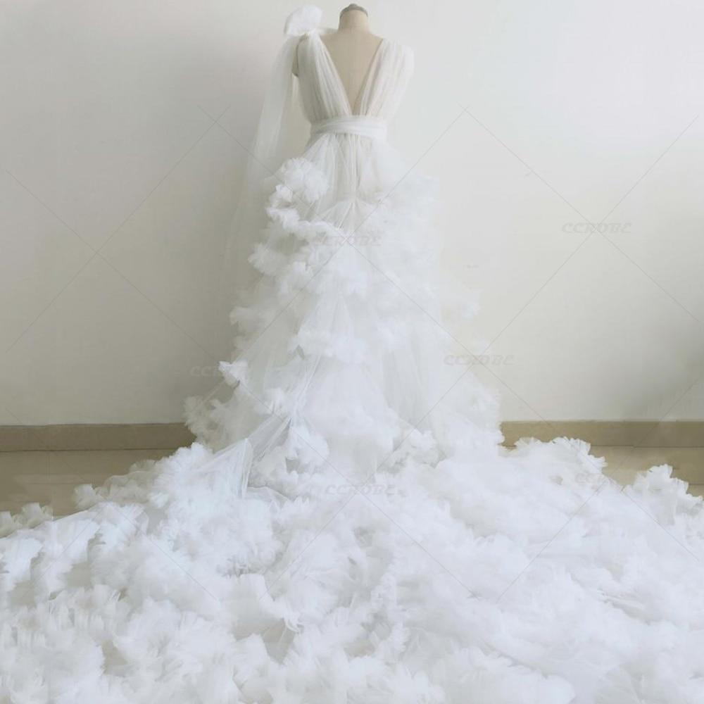 Women Ruffle Tulle Dress Perspective Sheer Puffy Bridal Robes Sleepwear Wedding Dressing Gown Maternity Photo Shoot Dress