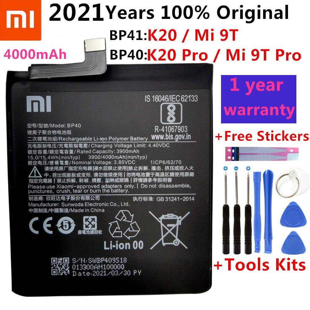 100% الأصلي استبدال البطارية BP41 BP40 ل شاومي Redmi K20 برو Mi 9T برو Mi9T Redmi K20Pro قسط بطارية حقيقية 4000mAh