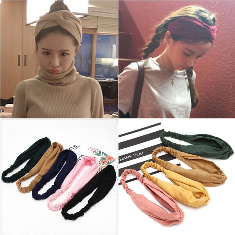 Turbante cruzado Vintage liso para mujer, turbante, gorro elástico para envolver la cabeza, accesorios para el cabello para niñas, diademas de rayas, 2020