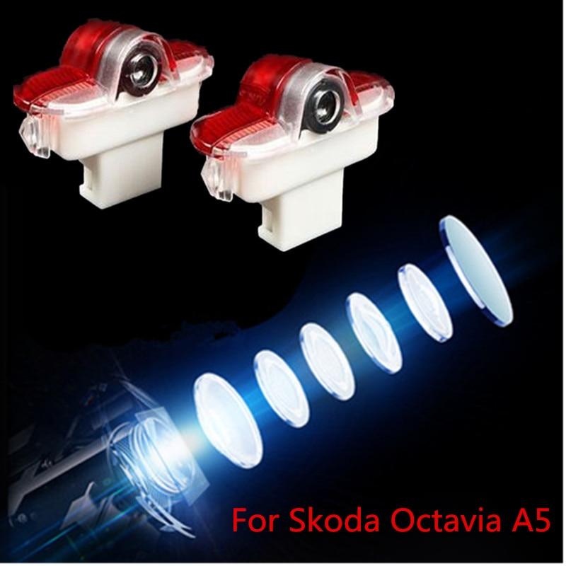 Logotipo do carro led porta luz decorativa para skoda octavia a5 2005 2008 2009 2010 2012 2013 fantasma shado projetor lâmpada estilo do carro