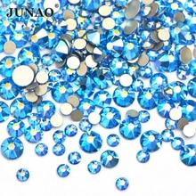 JUNAO Mix Größe SS10 SS16 SS20 Capri Blau AB Glas Nagel Strass Flache Rückseite Nail art Kristall Stein Runde Strass aufkleber für DIY