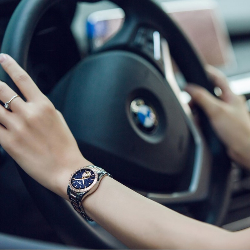 CARNIVAL Brand Women Fashion Automatic Watches Ladies Waterproof Luminous Sapphire Hollow Mechanical Wristwatch Relogio Feminino enlarge