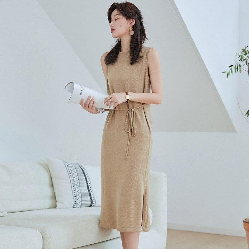 2019 otoño e invierno nuevo estilo Corea del Sur Simple elegante Pullover Base falda niños gigante adelgazamiento Jersey vestido Wo