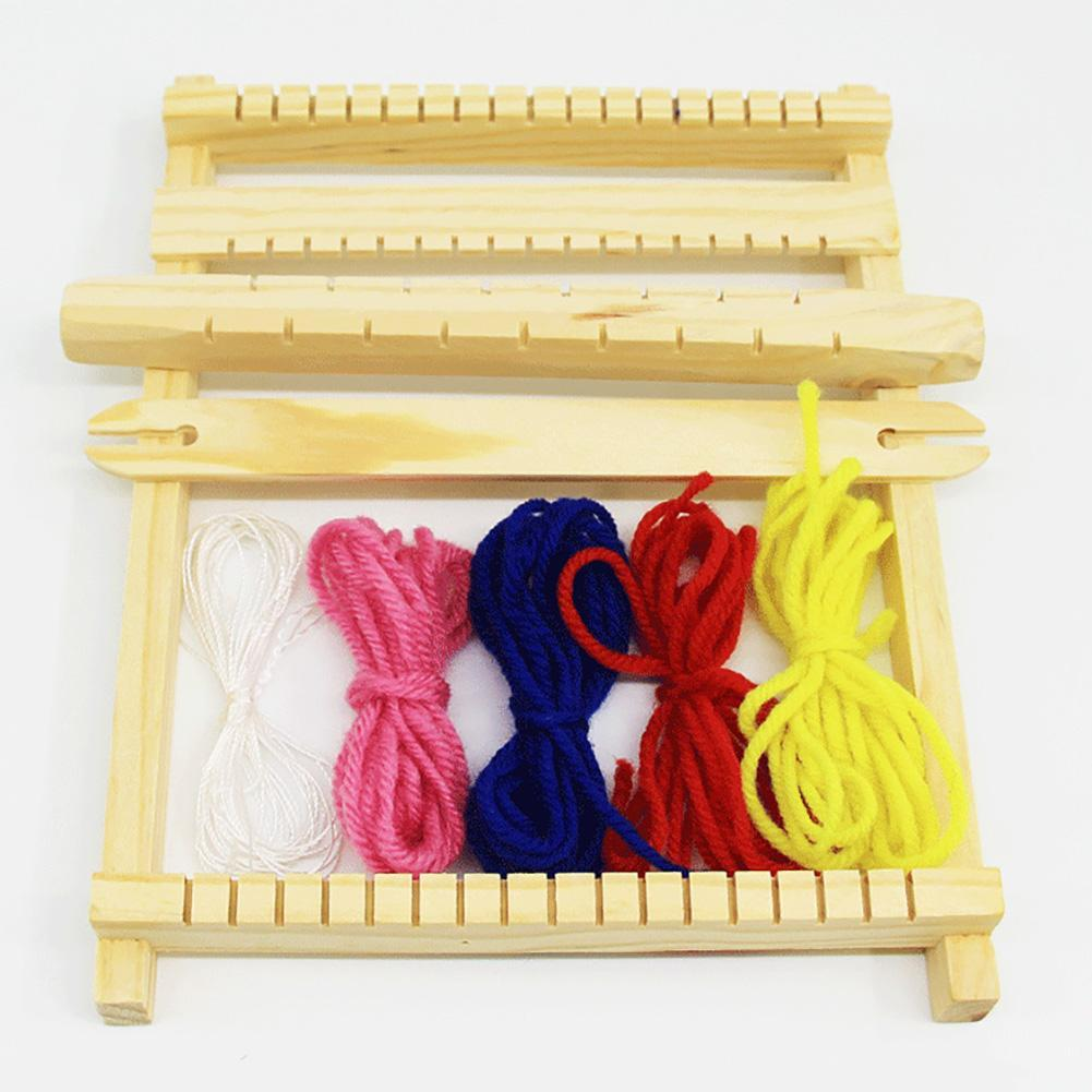 needle sewing tools diy kids knitting machine kit weaving loom for scarf hat sweater kids children pretend play toys knitting to Large Size DIY Hand Knitting Wooden Loom Kids Montessori Toys for Children Weaving Machine Intellectual Development Loom Toys