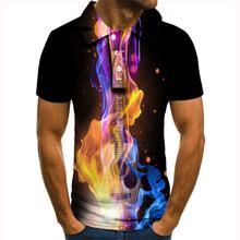 Polo para hombre 2020, nueva camisa polo para hombre, verano 3d, estampado de llama musical, manga corta, cuello vuelto, Tops ajustados, polo informal para hombre