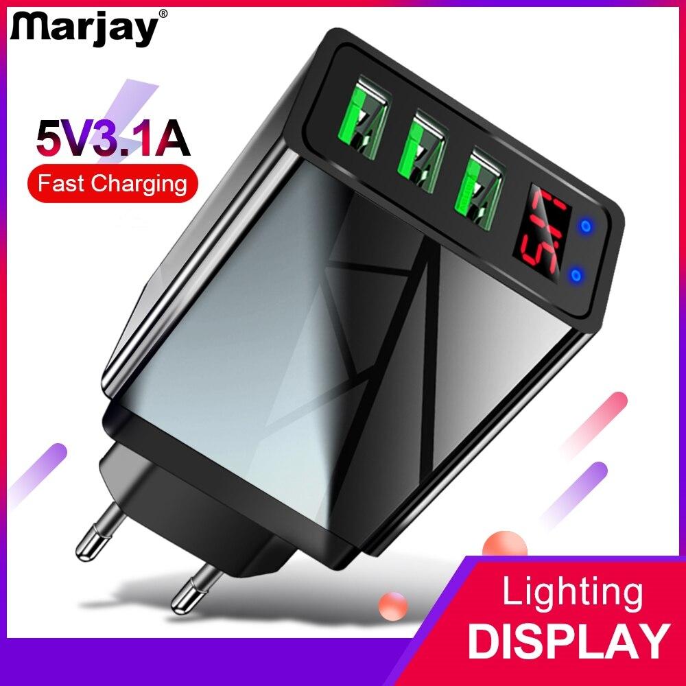 Marjay 3 порта USB зарядное устройство ЕС США штекер светодиодный дисплей 3.1A Быстрая зарядка смартфон зарядное устройство для iphone samsung Xiaomi планшет зарядка для телефона быстрая зарядка