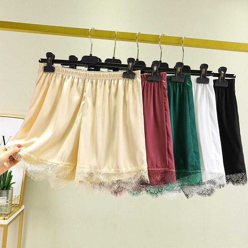 Летние женские шорты, свободные Однотонные эластичные шорты для девушек, милые женские шорты с эластичным поясом, кружевные широкие шорты д...