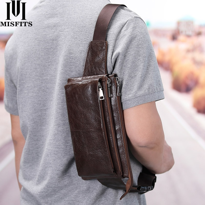 yiang new men s genuine leather cowhide vintage belt pouch purse fanny pack waist bag for cell mobile phone case cover skin MISFITS cow leather waist bag for men travel waist pack vintage small fanny pack male belt pouch bag casual cell phone chest bag
