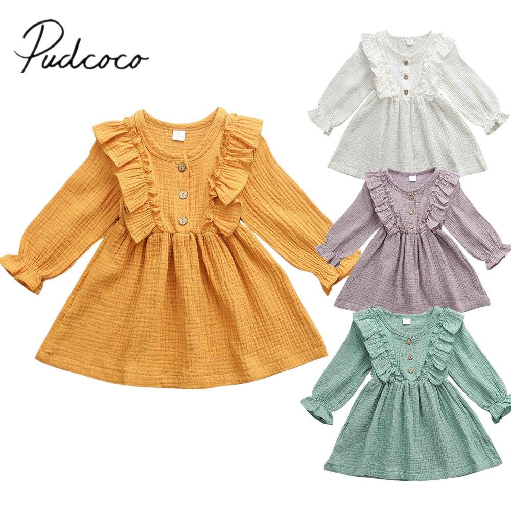2019 bebé primavera otoño ropa niño niños bebé niña algodón Lino fiesta Casual ropa de manga larga sólido vestido de verano 1-6T