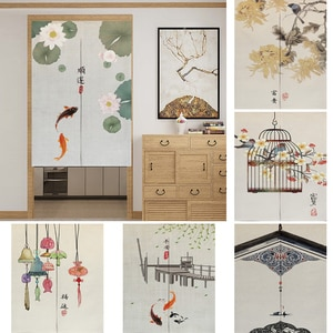 Chinese Noren Door Curtains Ink Flower Lucky Koi Painting Kitchen Restaurant Entrance Partition Decoration Linen Hanging Curtain