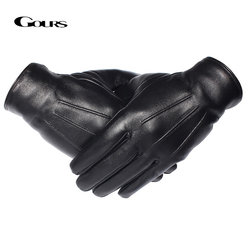 GOURS Winter Gloves Men Genuine Leather Gloves Touch Screen Black Real Sheepskin Wool Lining Warm Dr