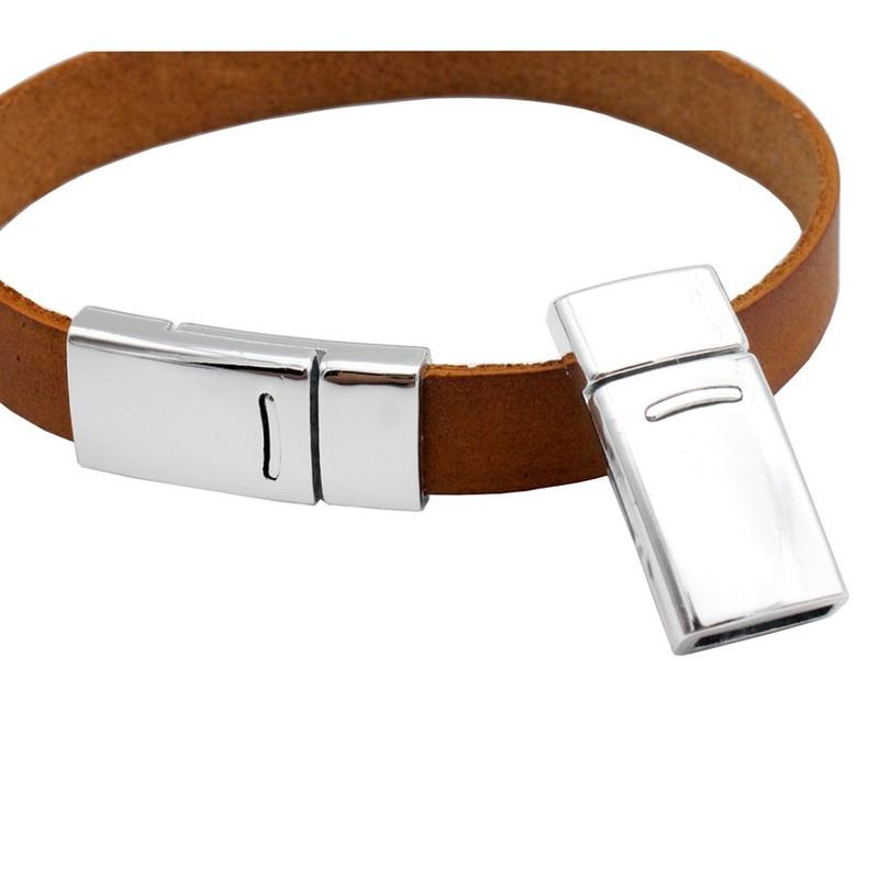 Aaazee 3 conjuntos de prata curvo fecho magnético plano pulseira que faz a jóia fornecimento tira couro cola 10mm x 2mm buraco interno