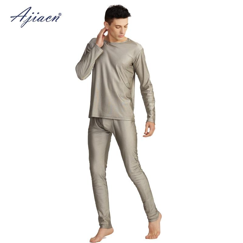 Anti-electromagnetic radiation men's long sleeve underwear set 5g communication EMF shielding 100% silver fiber underwear