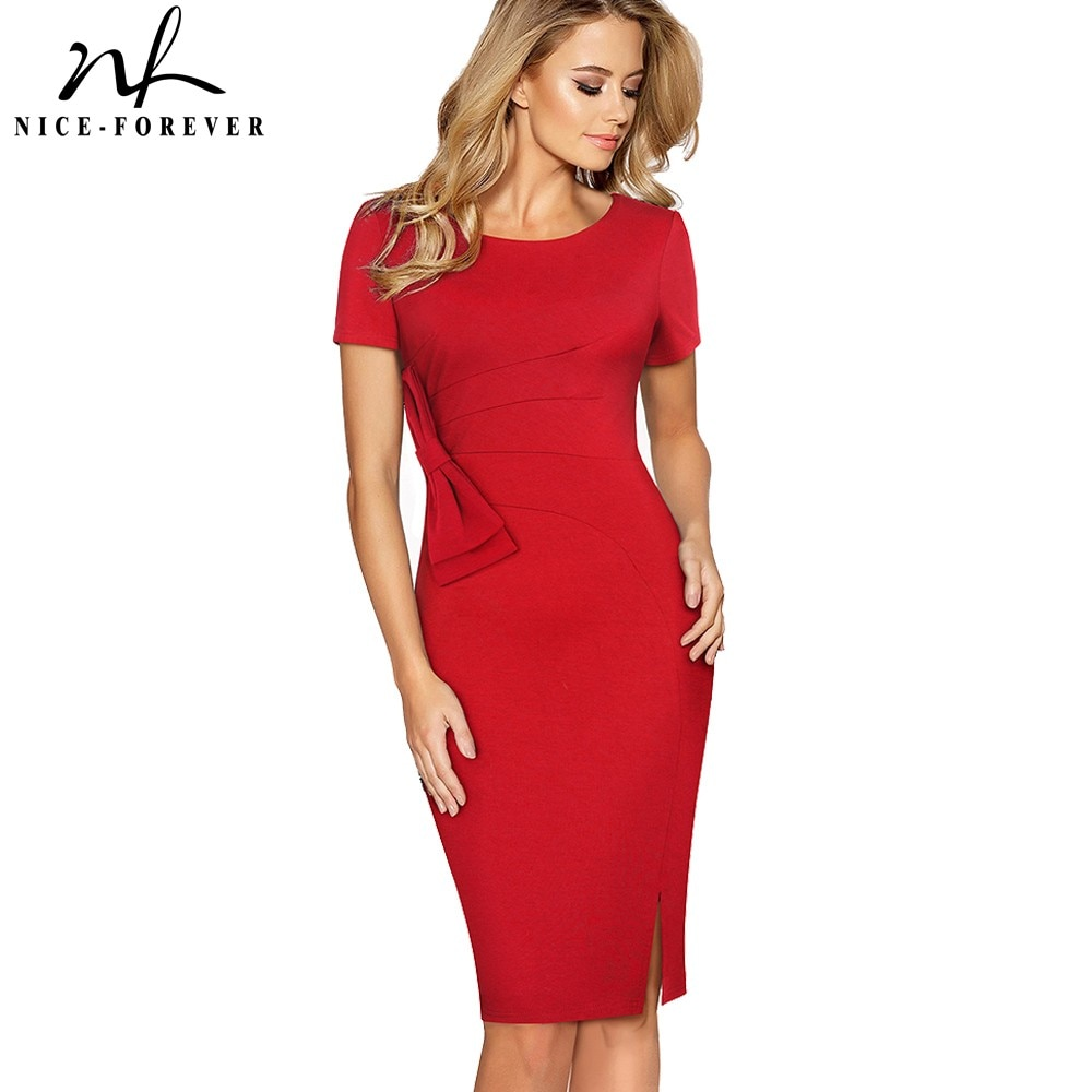Nice-forever Vintage Solid Color Side Split Wear to Work Zipper Bow vestidos Bodycon Office Business Sheath Women Dress B427