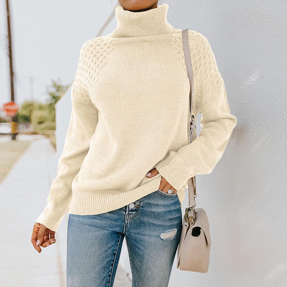 2021 maglione dolcevita lavorato a maglia da donna camicia a fondo solido Pullover a maniche lunghe abbigliamento donna donna inverno bianco maglieria top