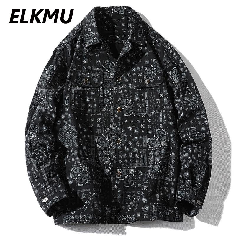 ELKMU قمصان الشارع الشهير باندانا بيزلي نمط طباعة قمصان طويلة الأكمام جاكيتات خمر Harajuku بلايز قميص الصيف الخريف HM305