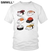 Humor Sushi Bunnies Tshirt Novelty Design Pure Cotton Tee for Men Short Sleeved O-neck Japan Food T-