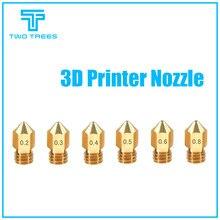 Deux arbres MK8 buse 0.4mm 0.3mm 0.2mm 0.5mm cuivre 3D imprimante extrudeuse fileté 1.75mm Filament tête laiton buse pour Ender 3