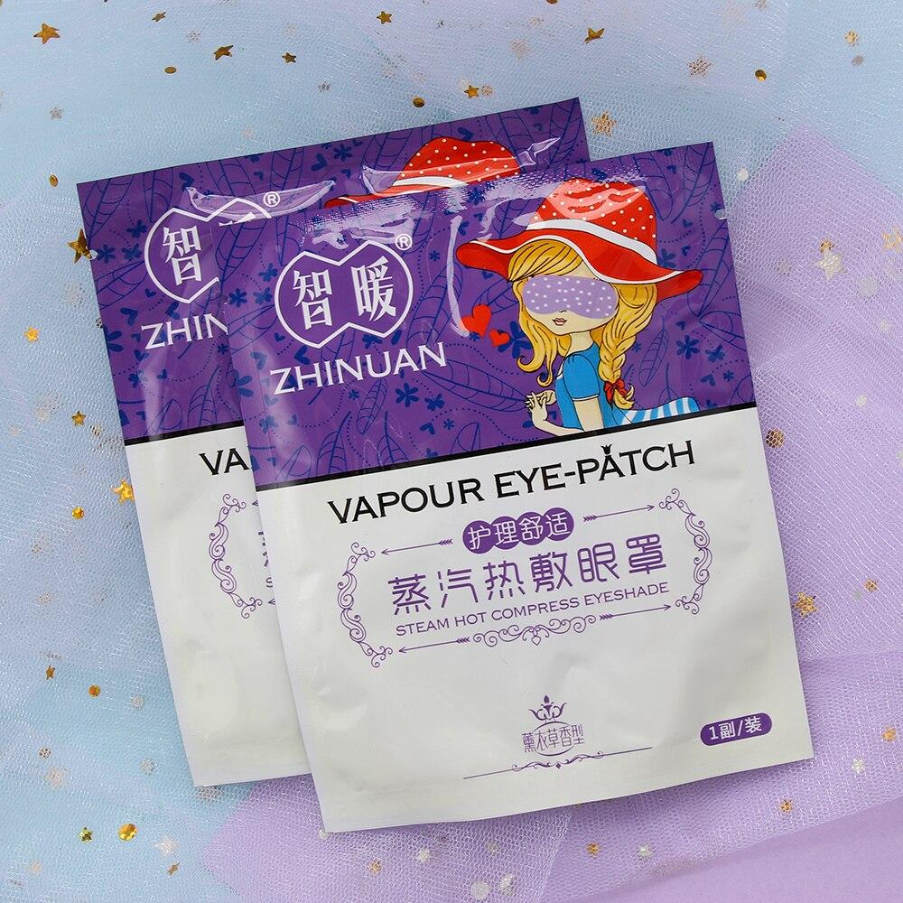 Lavanda Anti-hinchada dormir Parche-vapor de calefacción mascarilla caliente para ojos relajante caliente aliviar la fatiga dormir relajante máscara de ojo