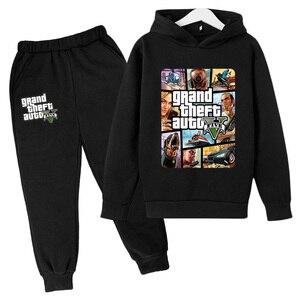 2-14Y 2021 Newest Kids Casual Fashion Clothing Game GTA 5 Hoodies Gta Street Outwear Children Sweatshirt+pants Boys Hip Hop suit