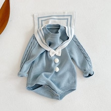 Yg Girl 0-2 Years Old Baby Navy Collar Bow Wool One-piece Clothes Baby Bag Fart Ha Clothes Triangle