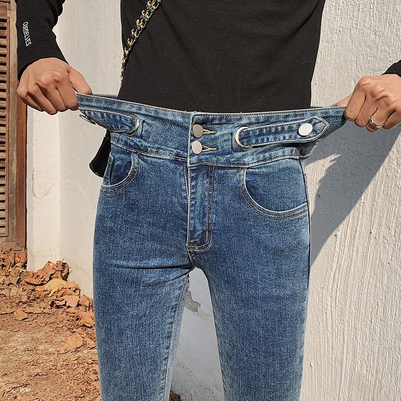 Skinny Jeans Woman High Waist Double Button Jean Skinny Mujer Denim Pants Spring Women's Jeans With High Waist Jean Women 2020 middle waist skinny jeans