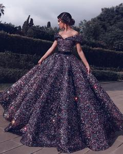 New Dubai Sweetheart Sexy Luxury Indigo Blue Prom Dresses 2020 Sequined Off Shoulder Evening Party Gowns Custom Made