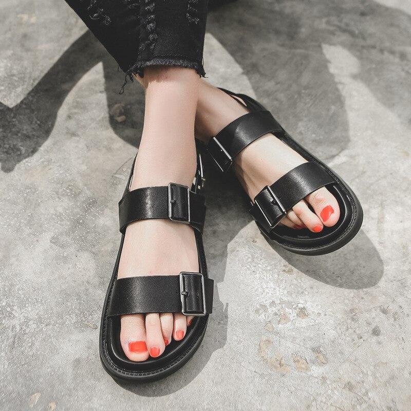 SWYIVY, zapatos informales de PU, sandalias para mujer, moda de verano 2020, gran oferta, sandalias de plataforma plana, zapatos negros para mujer, Correa sólida