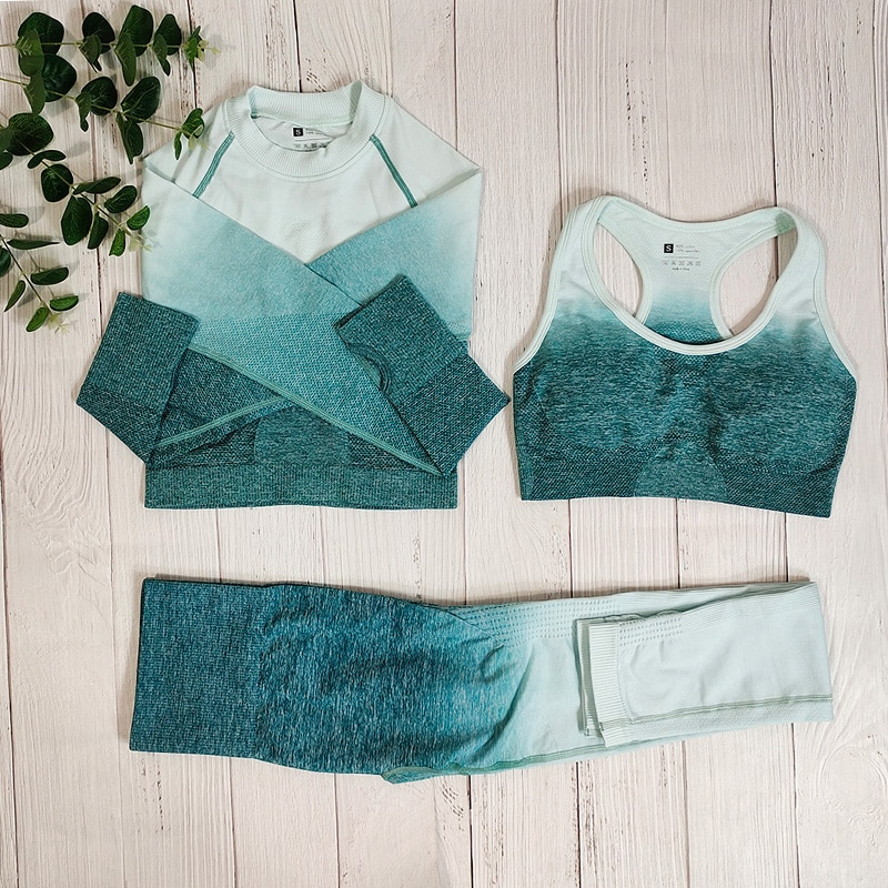 Ombre Sportswear Women Yoga Outfit Set Fitness Suit Gym Clothing Sports Set Seamless Athletic Wear Workout Clothes For Woman