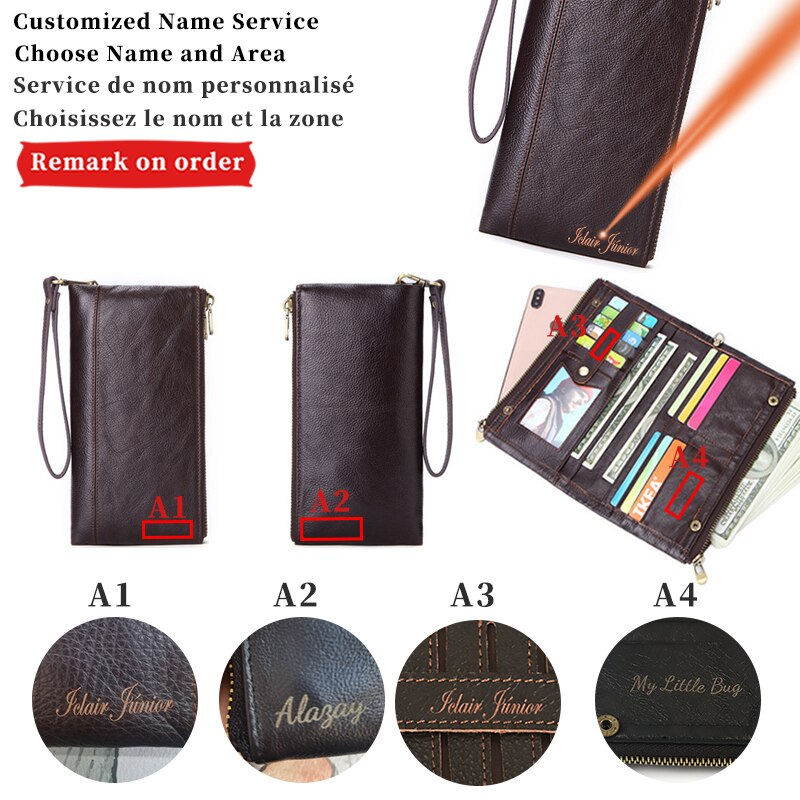 Dascusto Genuine Leather Custom Name Wallet For Men Luxury Black Clutch Card Holder Man Engraving Na