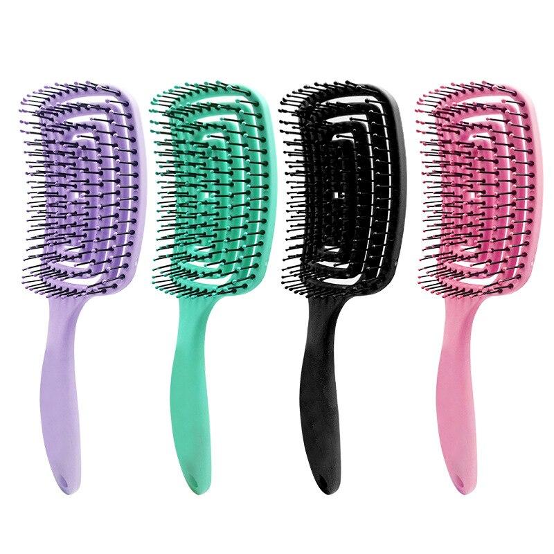 Cepillo de pelo Anti Klit para mujeres, peine para masaje del cuero cabelludo, cerdas y cepillo de pelo de nylon, cepillo de pelo mojado rizado para desenredar, cepillo de pelo para salón