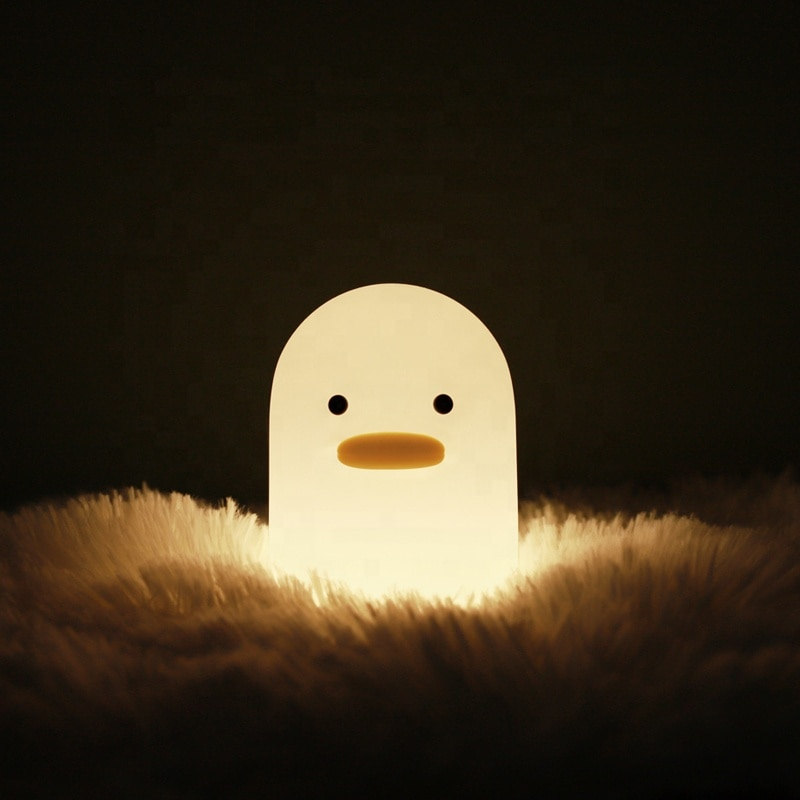 Kawaii USB Light Silly Duck Creative Night Light Silicone Children's Sleep Pat Lamp New Peculiar Gift Bedside Lamp For Child enlarge