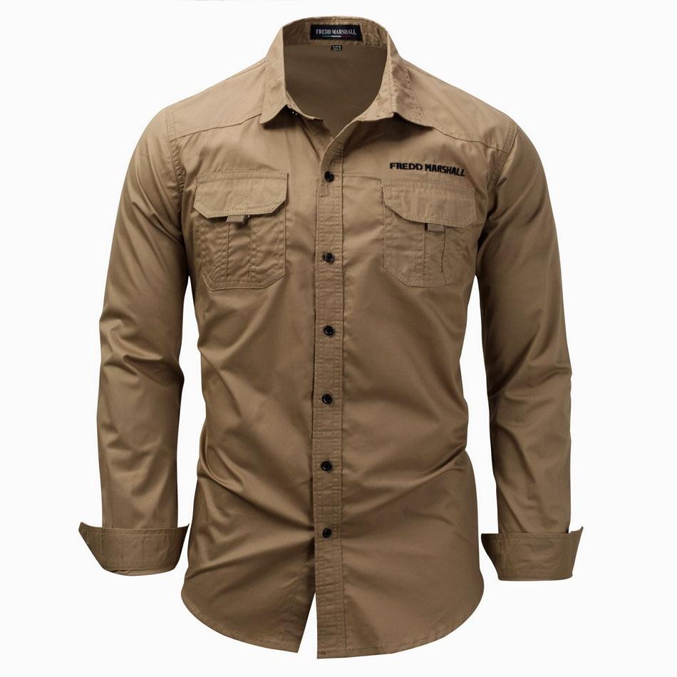 Высокое качество 100% хлопковая рубашка в стиле милитари для мужчин с длинным рукавом дышащая Повседневная рубашка мужская Однотонная рубаш...