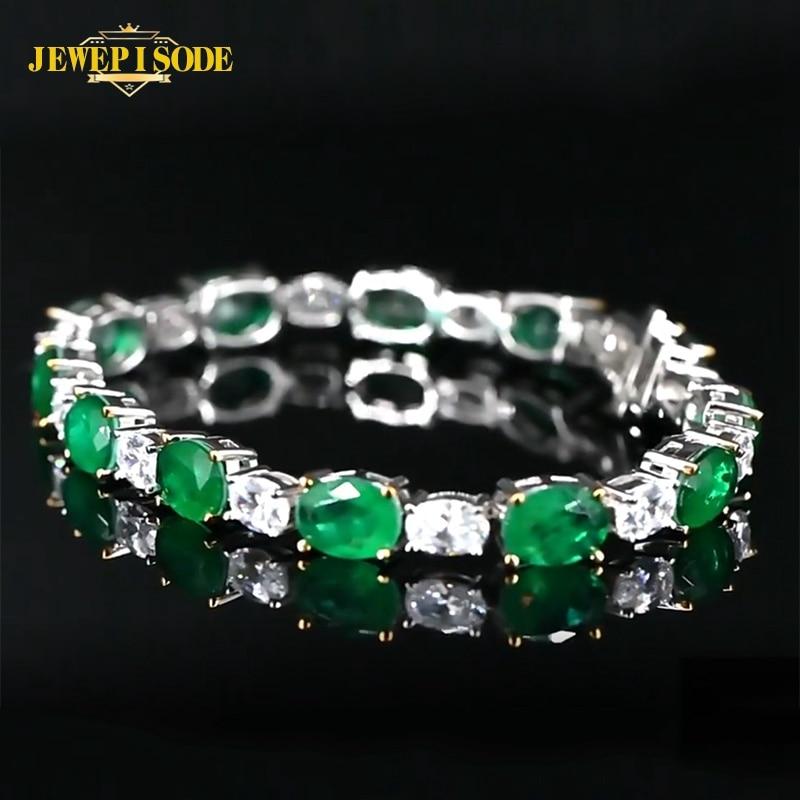 Jewepisode Solid Silver 925 Charm Bracelets Emerald Simulated Moissanite Birthstone Fine Jewelry Women Bracelet Wholesale Gift