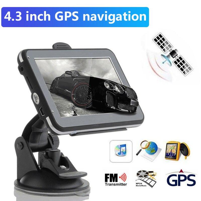 Sensor de navegación portátil para coche Australia/América del Norte/Oriente Medio Mapa Digital Bluetooth FM MP4 navegador GPS para vehículo electrónico
