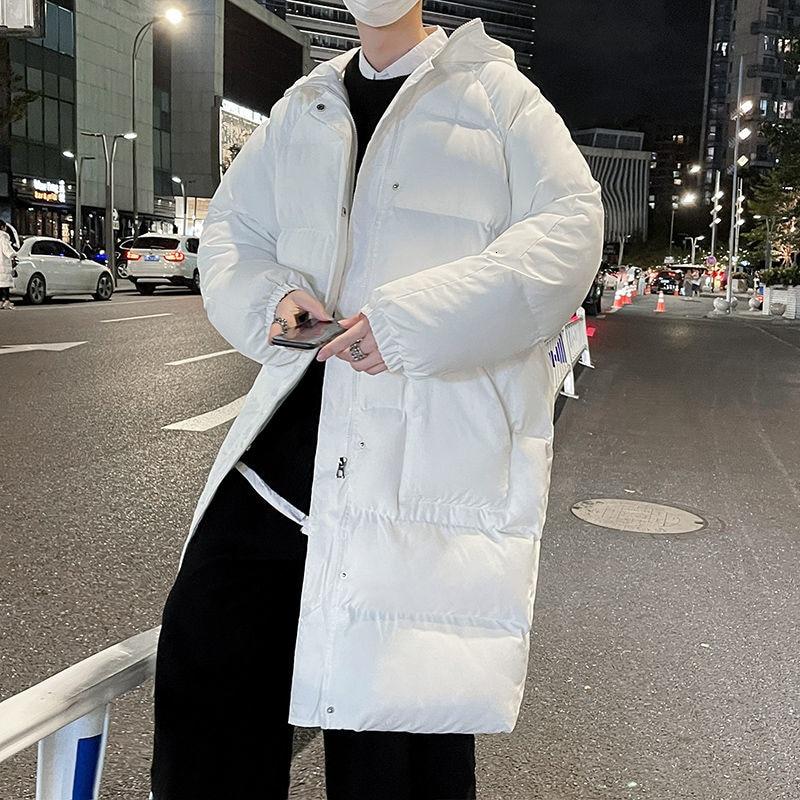Зимняя мужская куртка, теплая Модная Повседневная Длинная куртка большого размера с капюшоном, Мужская Корейская Свободная модель, толстая...