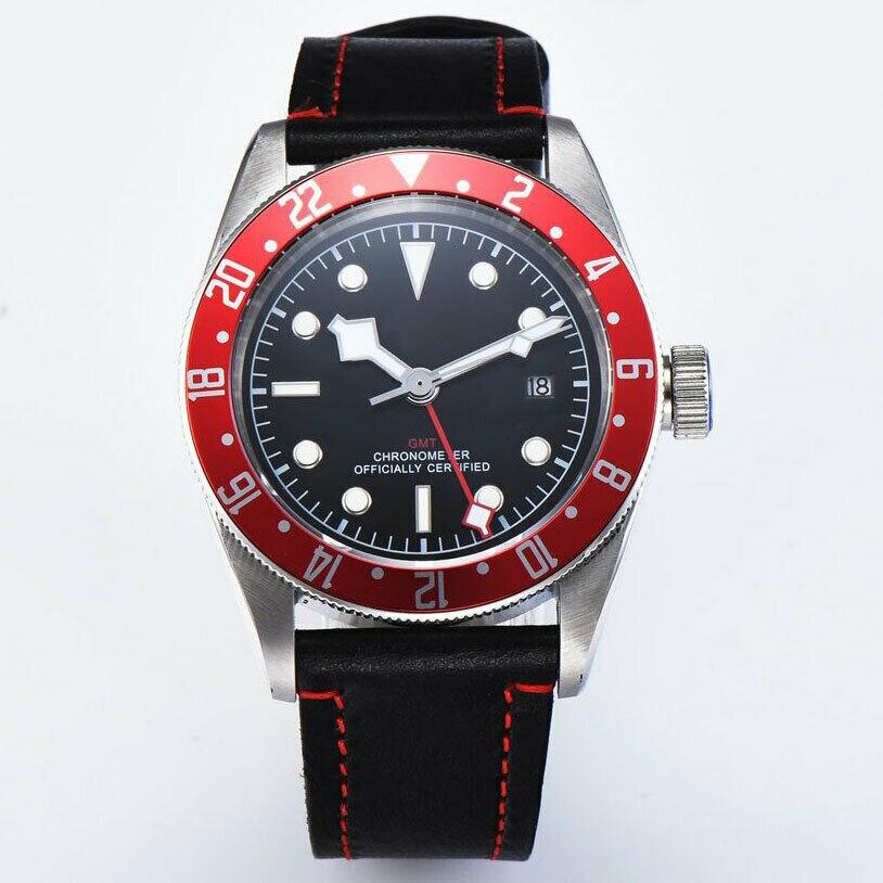 Reloj Corgeut de 41mm con marcas blancas, zafiro mecánico GMT, reloj con calendario deportivo militar automático para hombre, impermeable y luminoso