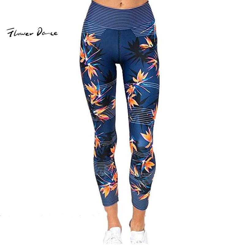 FlowerDance moda Leggings Deporte Mujer Fitness gimnasio chica corazón Yoga pantalones Jogging Leggings sin costuras de cintura alta