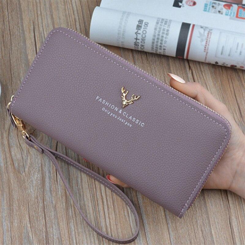 Wallet Women Quality Female Purse Female Wallet PU Leather Long Purse Black/Pink/Blue/Green/Gray Famous Brand Designer