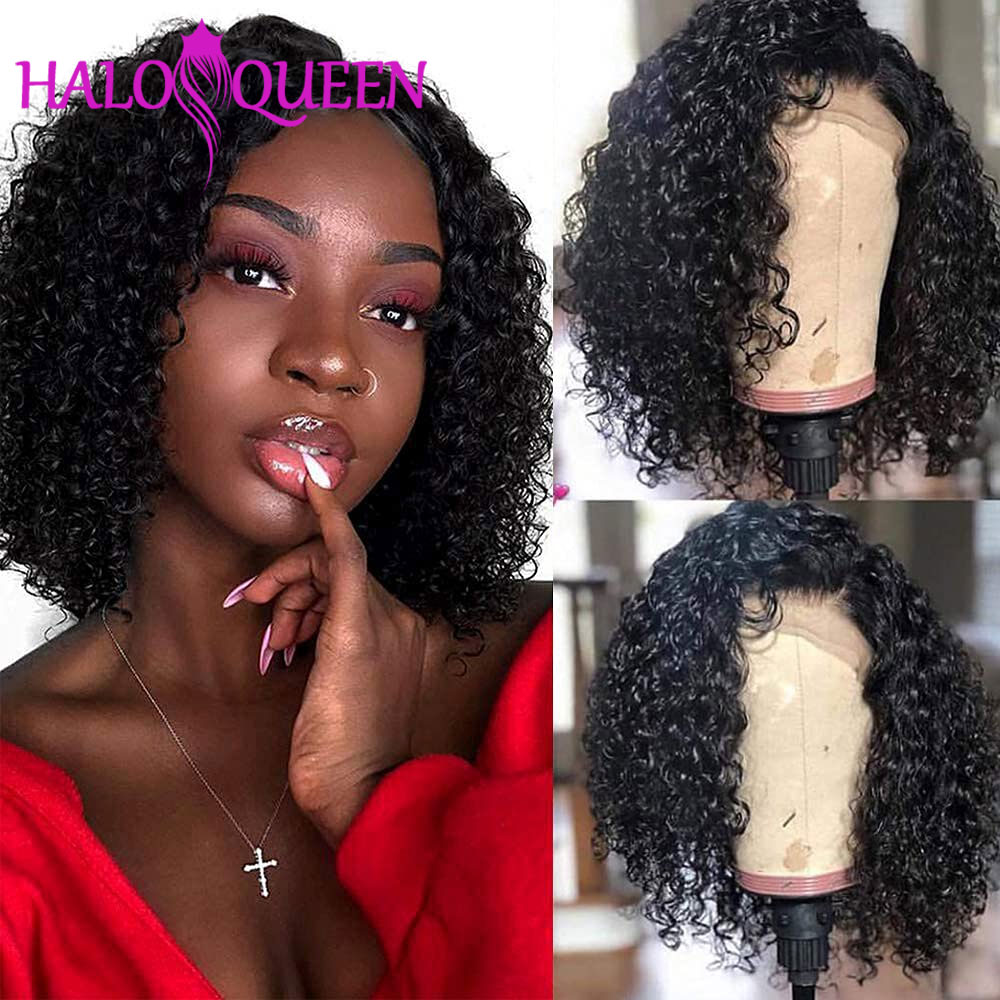 Bob Lace Front Wigs Curly Human Hair Wigs For Women Malaysian 13x4 Bob Frontal Wig 180% Density 4x4 Closure Wig Preplucked