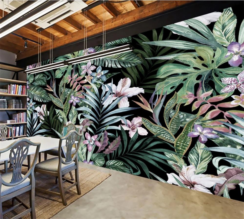 Custom 3D wallpaper mural hand-painted European pastoral style tropical rainforest Southeast Asia mural background wall недорого