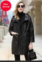 2020 autumn winter new fashion loose sheepskin mid length coat hooded casual leather coat for women