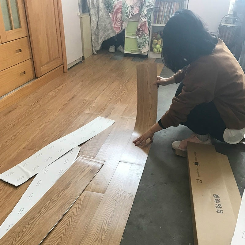 Bedroom Decor Room Decoration Wood Grain PVC Floor Stickers Waterproof  Adhesive Cement Sticker Thickened Plastic Leather