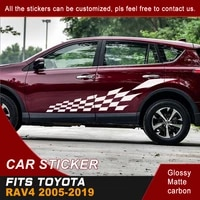 car decals 2 pcs cool racing side door grid graphic vinyls scratch protect car accessories stickers custom fit for toyota rav4