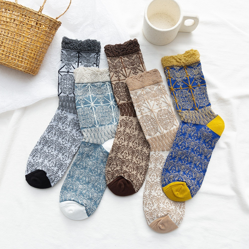 5 Pairs Of Batch Sox Day Of Decorative Pattern Restoring Ancient Ways Of Autumn Winter Money Is In Low Help Leather Shoes Joker
