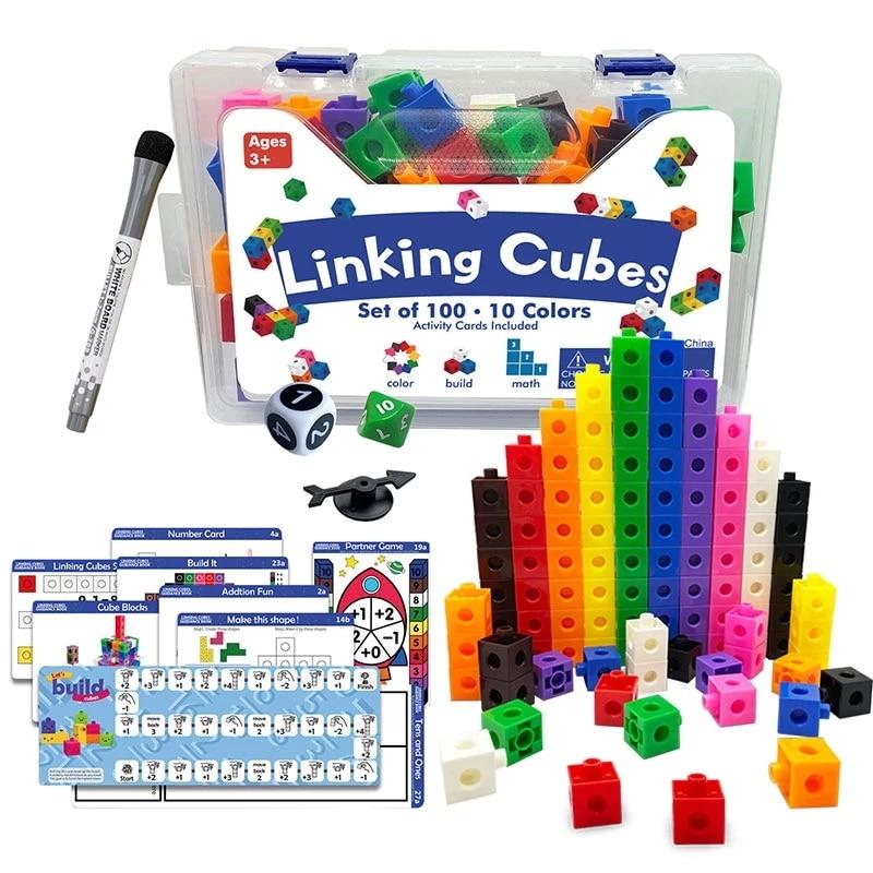 Радужные математические кубики Монтессори, Обучающие блоки, игрушка в коробке, цветная лента, графическая карта, математический подсчет, мн...